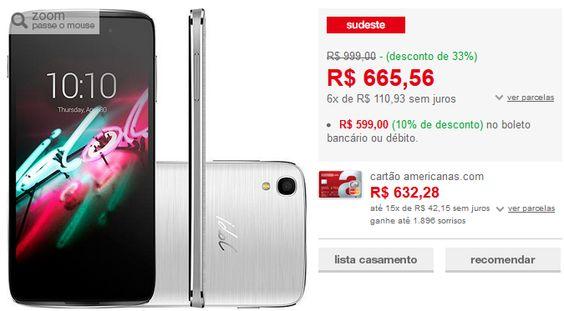 "Smartphone Alcatel Idol 3 Dual Chip Android 5.0 Tela 4.7"" 16GB 4G 13MP << R$ 53910 >>"