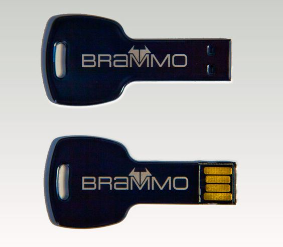 2GB memory capacity to store, transport and share documents, music, videos and photos.    In the design of a black key with the Brammo logo in silver on both sides.