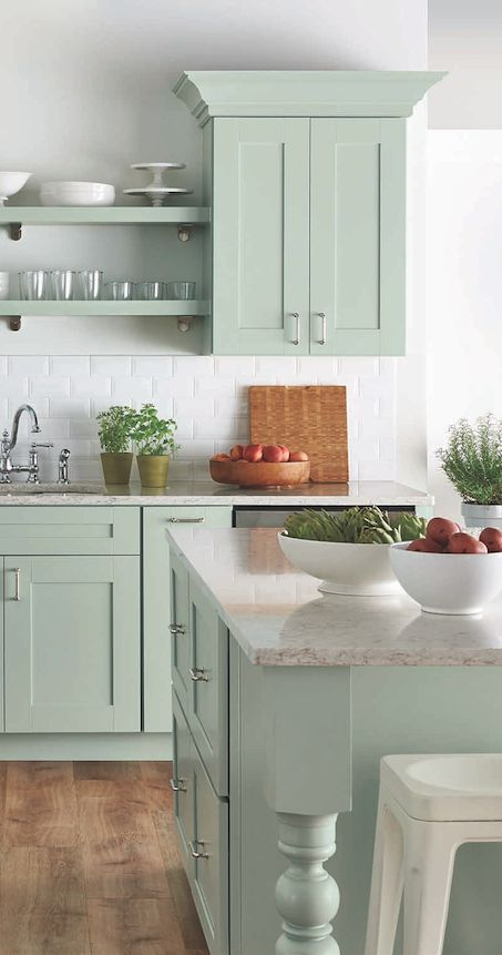mint green with granite countertops