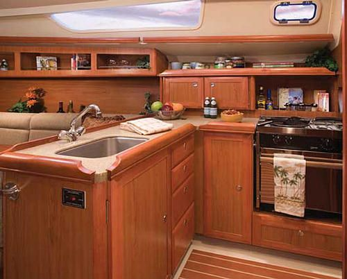 Boat galley inside the boat pinterest counter tops and sailboat interior Ship galley kitchen design