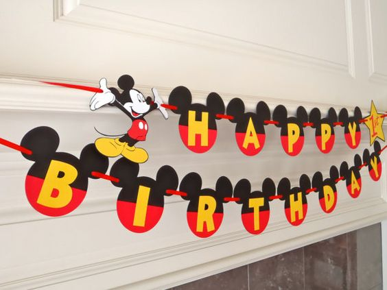 Mickey Mouse Happy Birthday Banner with by FeistyFarmersWife, $21.00 #MickeyMouseClubhouse