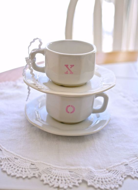 X and O espresso cups, vintage Valentine's Day cup and saucer set, coffee, latte, cappuccino, cocoa, cup, housewares