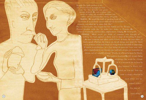 """A two-page spread from """"Radioactive: A Tale of Love and Fallout"""" about Marie & Pierre Curie, beautifully written and illustrated by Lauren Redniss. Beautiful storytelling with historical significance."""