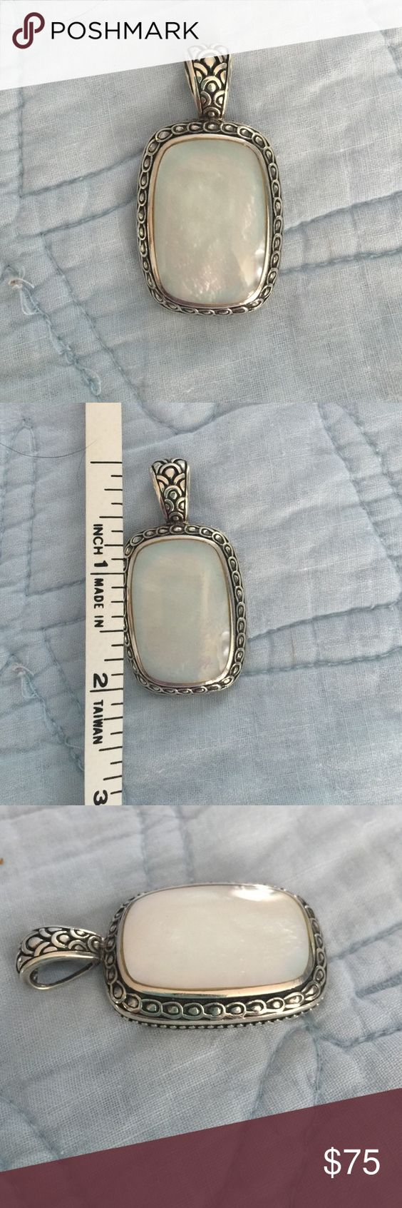 Sterling mother of pearl pendant Gorgeous white mother of pearl. Stamped 925 Thai. Jewelry