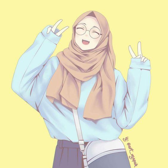 Kartun Muslimah Berhijab Di 2020 Ilustrasi Orang Gambar Gambar Anime