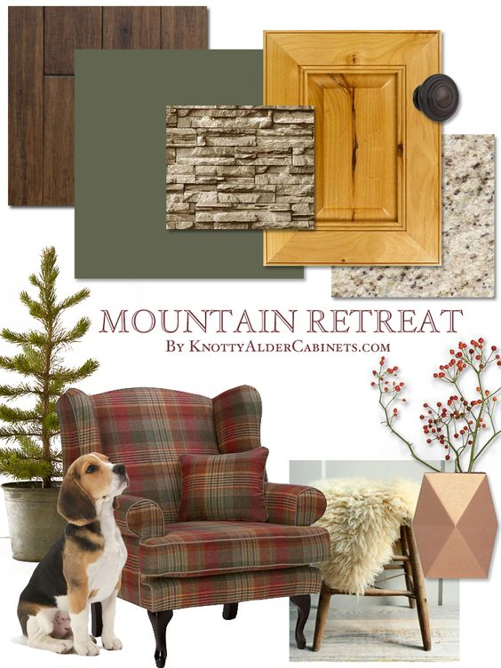 Here are some great color and design ideas for a mountain cabin using our natural stain knotty alder cabinets. #cabinets #kitchendesign