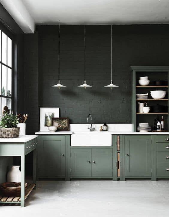 Cocinas Combinadas En Dos Colores 35 Ideas Diseno De Cocina Comedor Diseno De Cocina Gabinetes De Cocina Verde