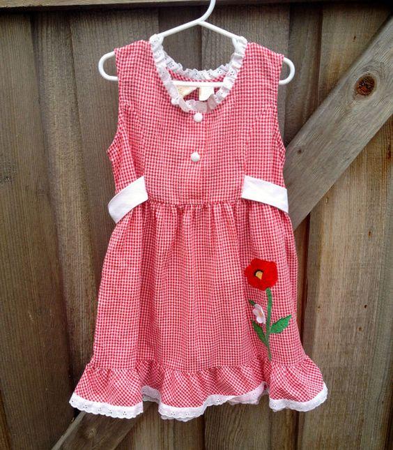 Red Gingham Poppy Dress Girls 5/6 by lishyloo on Etsy, $14.00