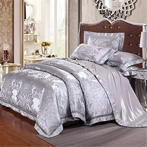 17color Embossed Jacquard Luxury Bedding Set Queen King Size Blue