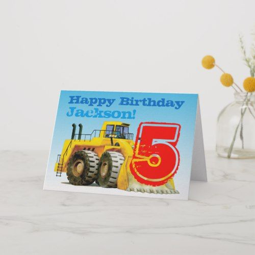 Kids Custom Construction Digger 5th Birthday Card Zazzle Com Birthday Cards Kids Birthday Party Invitations Kids Birthday Cards
