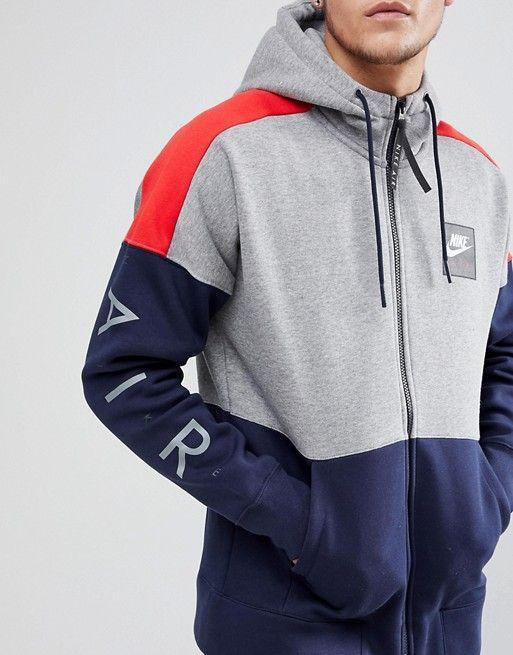Nike Air Zip Through Hoodie With Arm Print In Grey 886044