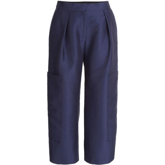 Roksanda Jude Cotton-Silk Blend Culottes ($250) ❤ liked on Polyvore featuring pants, capris, blue, navy pants, navy blue trousers, navy blue pants, roksanda and holiday pants
