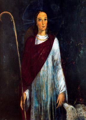 """""""El Buen Pastor, 1950-55"""". Óleo sobre tela. 100 x 73 cm. Fons d´Art de la Caixa de Terrassa."""
