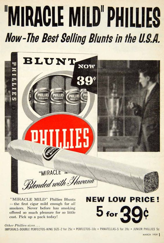 1959 ad for blunt cigars