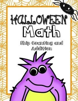 free halloween math addition and skip counting worksheets included for 1st and 2nd grade. Black Bedroom Furniture Sets. Home Design Ideas