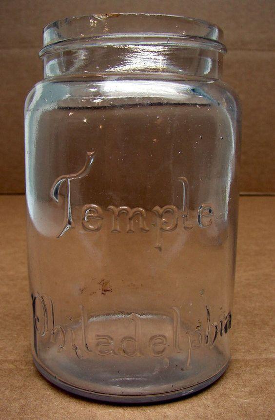 Antique Vintage Temple Philadelphia Clear Mason Fruit Jar Pint Ground Lip Rare !