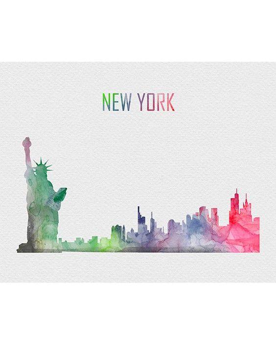 Watercolor New York: New York City Skyline Watercolor Art Print