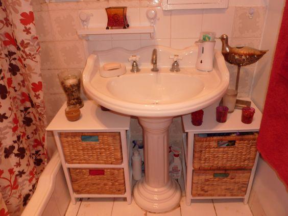 Cool Ideas About Pedestal Sink Storage On Pinterest  Small Pedestal Sink