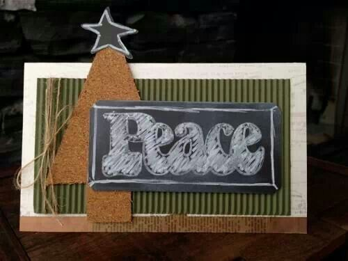 Cork paper,corrugated paper and chalk paper were used to create this card-cute!