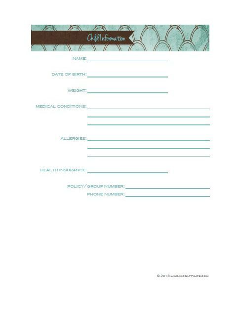 Day 25 Child Information Sheet Homemaking Printables Home