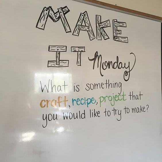 Make something... Create something. Try something new! #teachersofinstagram #iteach7th #iteachtoo #miss5thswhiteboard