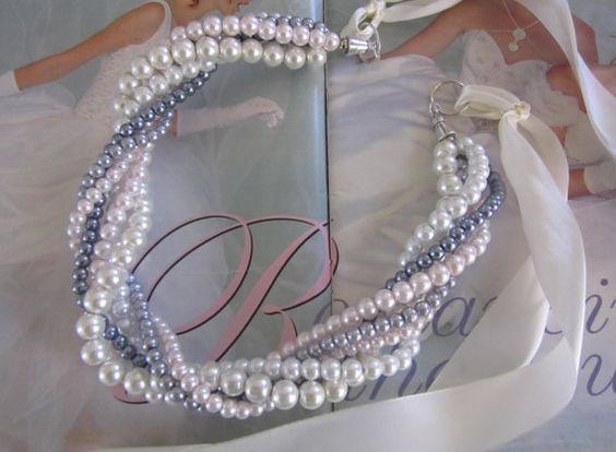 Bridal Twisted Bib Necklace Chunky Braided by SLDesignsHBJ on Etsy