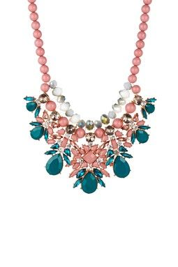 """Cara Accessories Beaded Pear Statement Necklace - Teal  Coral - Beaded statement necklace with acrylic stone and crystal cluster accents - Lobster clasp - Approx. 16.5"""" length with 3"""" extender - Approx. 3.25"""" L x 6"""" W bib - Imported"""