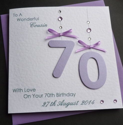 Handmade Personalised Lilac 50th 60th 70th 80 th 90th Any Age – Handmade 70th Birthday Cards