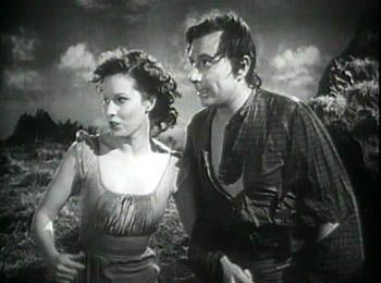 "Maureen O'Hara and Robert Newton in ""Jamaica Inn"" 1939.:"
