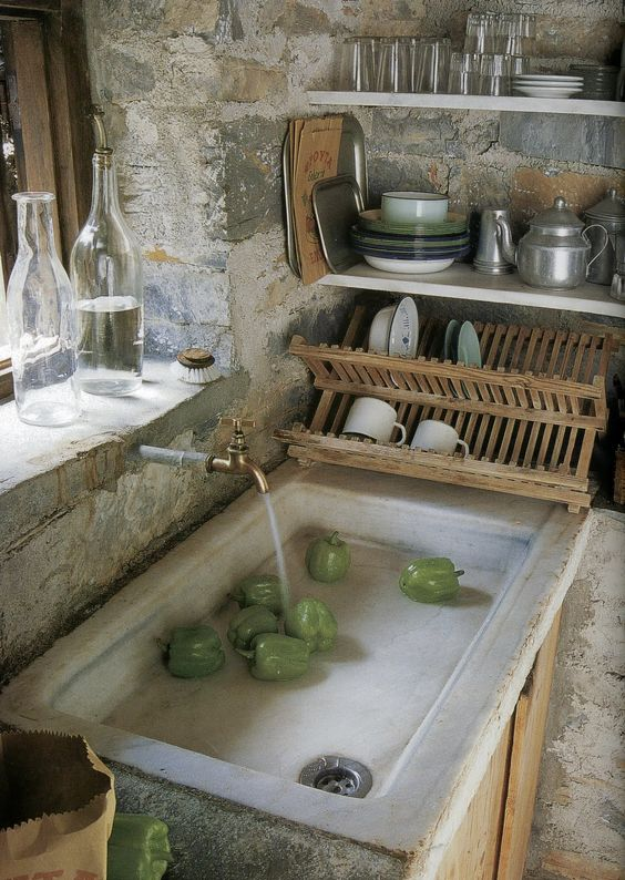 European Farmhouse Rustic Decorating Ideas. Rustic antique kitchen sink in an Old World stone kitchen.