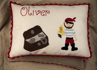 Personalised Pirate crochet cushion