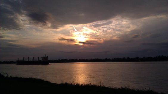 Sunset over The Mississippi at Oak Alley Plantation last Monday 5/7/2012. Thank you Oak Alley for such a wonderful Experience!