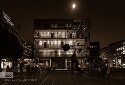 Stuttgart 2015 - 8 by ralfh  night 2015 Badenwürtenberg Deutschland Germany Sommer Stuttgart architecture black an white building