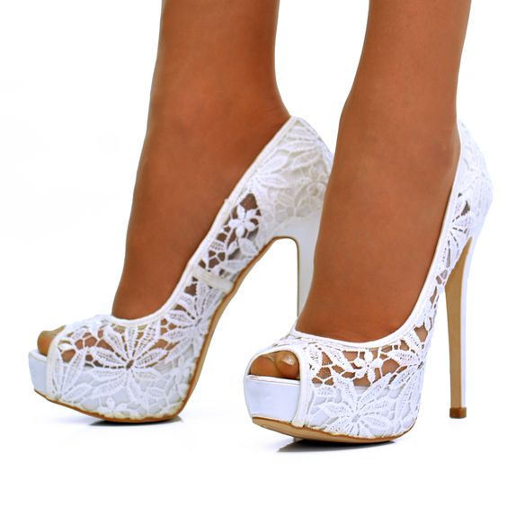 Lace Wedding Boots  White flower lace stiletto high heel peep toe