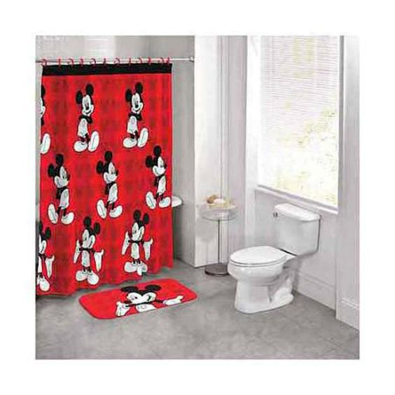 Mickey Mouse Disney Shower Curtain Bathmat Rug Set Mickey Mouse ...