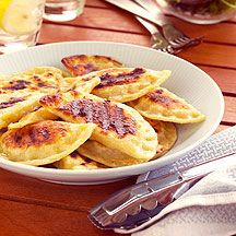 Homemade BBQ Perogies...I am going to do this when the weather is nice :D