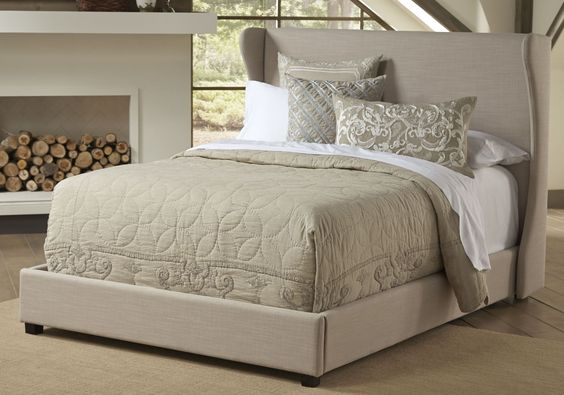 Wing Shelter King Platform Bed. I would add silver nailhead trim to this