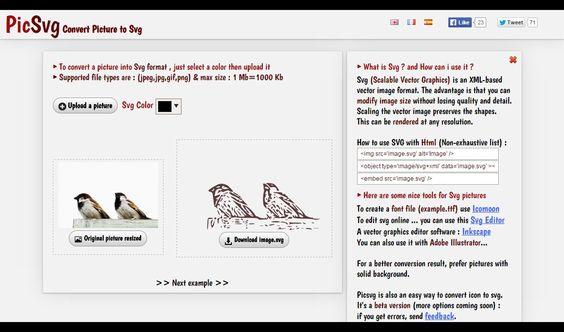 JPEG、PNG、GIF形式の画像を、SVGのベクターに変換できるサービス