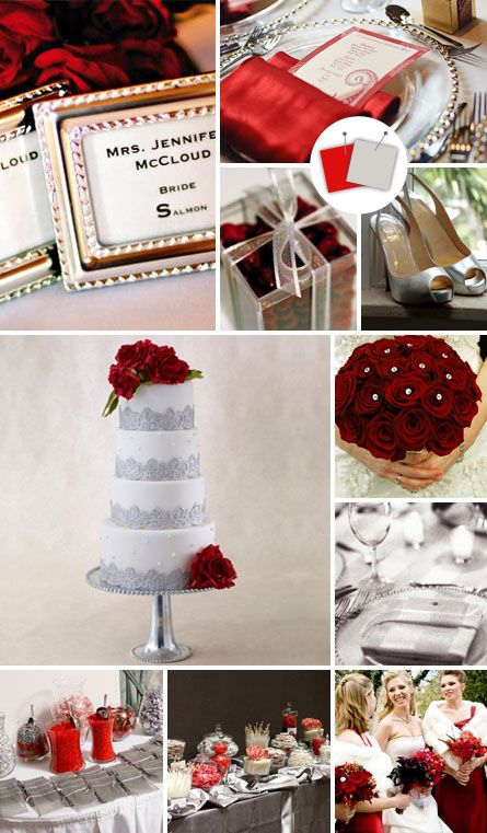 Silver/grey and red. Could be used at Christmas or in February for Valentines - instead of white, choose silver/grey!  http://wedding.theknot.com/wedding-colors/choosing-wedding-colors/articles/modern-wedding-color-palettes-we-love.aspx?page=9