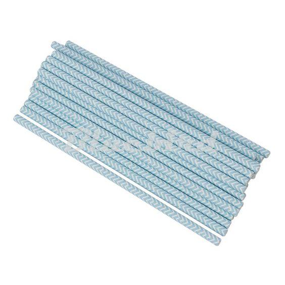 Bleu clair Potable Papier Pailles De Mariage Parti Décorations 25 PCS