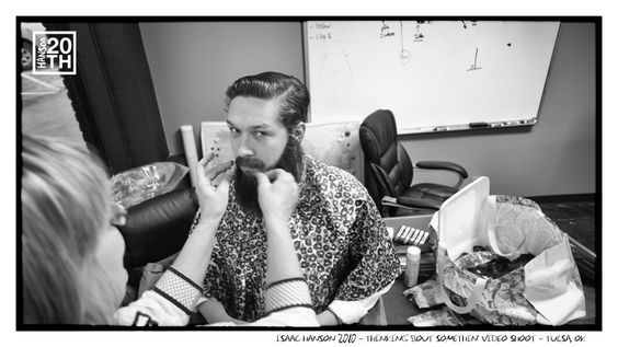 Photo 90 of 365  Isaac Hanson 2010 - Thinking 'Bout Somethin' Video Shoot - Tulsa, OK  	  Ike is getting his beard on in this shot for the Thinking 'Bout Somethin' video. There are really no words for this moment. Or maybe there are? Give us some words.    #Hanson #Hanson20th