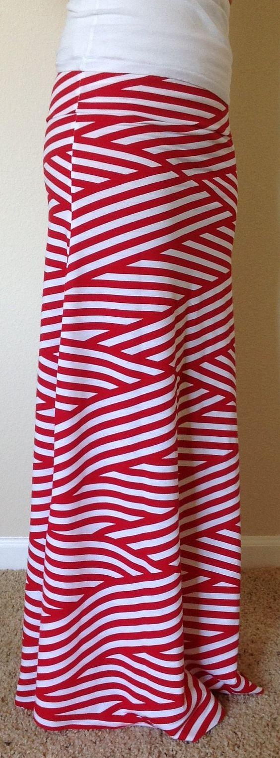 Red and white striped skirt, maxi skirt, summer skirt, skirt ...