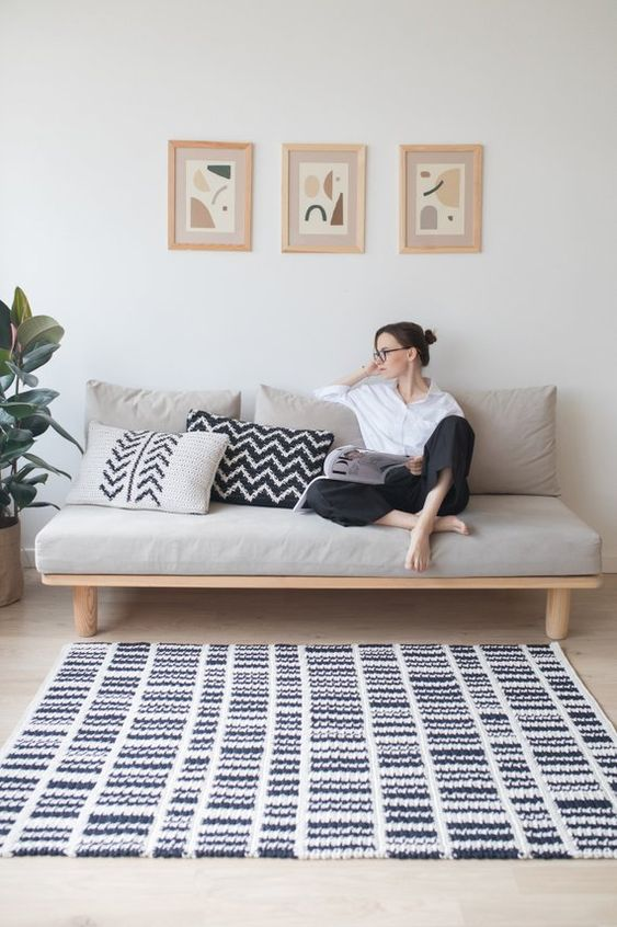 Domino Rug crochet pattern includes a PDF with written instructions in English and photos of crocheting process. It was designed and developed by me for all crochet lovers.  This black and white rug will be a perfect piece of home decor for Modern, Scandinavian and Mid Century interiors.  . Skill