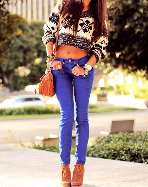 Love unconventional coloured jeans!