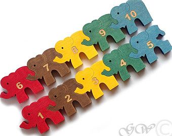 Wooden Puzzle Ten Elephants, Wooden toys. Wooden animal puzzle, Numbered Puzzle M223