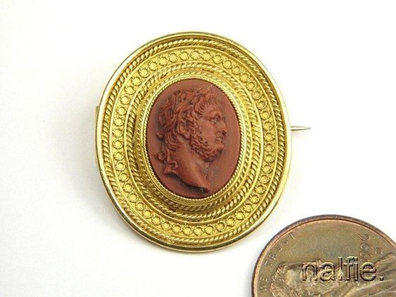 Antique European 14k Gold Finely Carved Jasper Zeus Jupiter Cameo Brooch C1860 | eBay