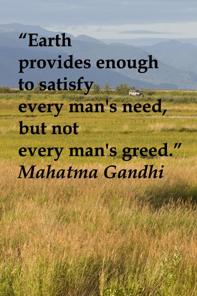 earth provides enough to serve every man s need but not every man s greed 'earth provides enough to satisfy every man's need, but not every man's greed' ~ mahatma gandhi.