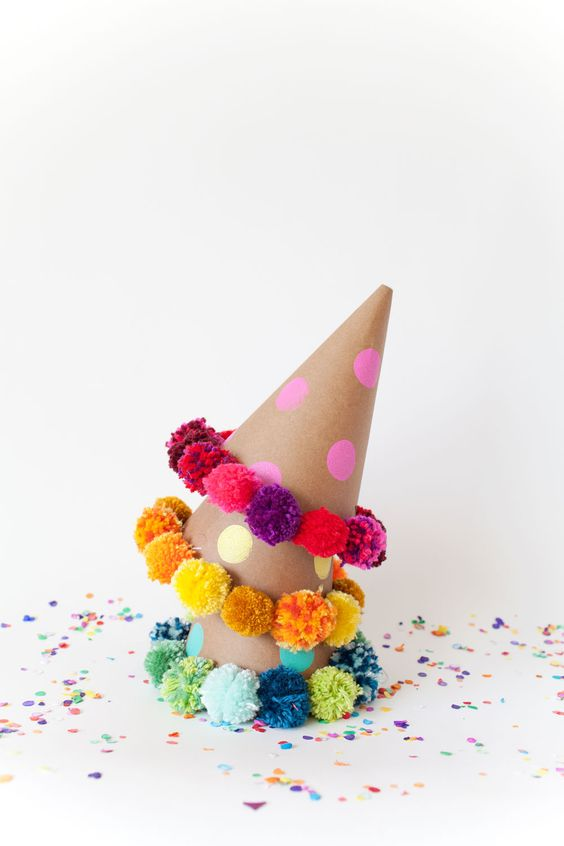 DIY Pom Pom Party Hats: