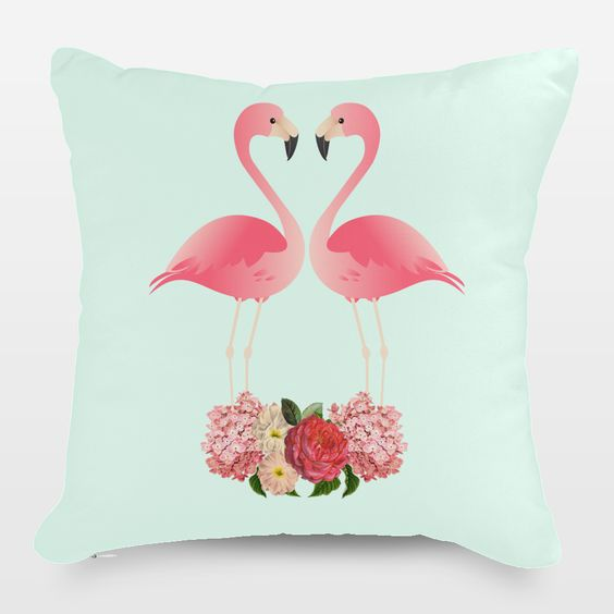 Flamingos in Love Throw Pillow by julianazimmermann on BoomBoomPrints