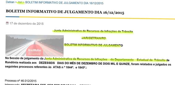 JARI do Detran/RO publica resultados de recursos contra multas de trânsito julgados no dia 16.12.2015 51851 +http://brml.co/1mc52IL